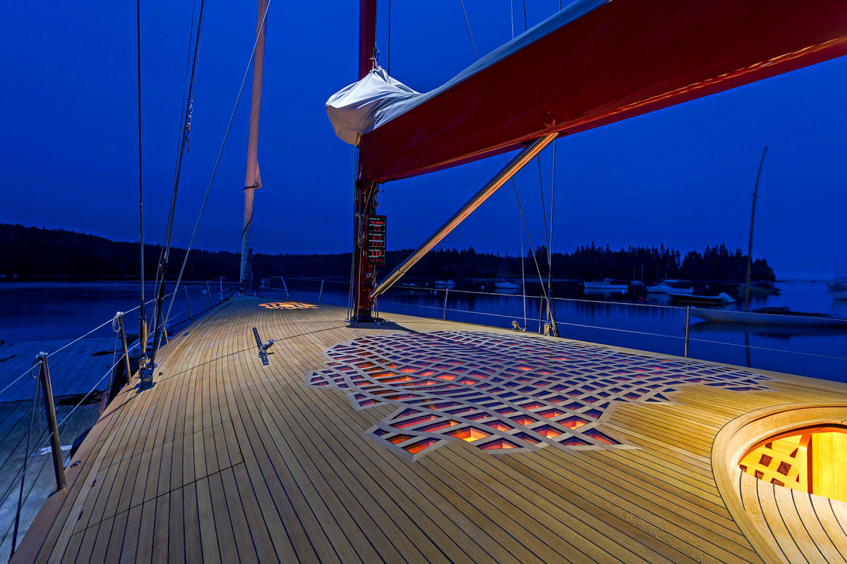 Lattice work of glass on that boat's deck