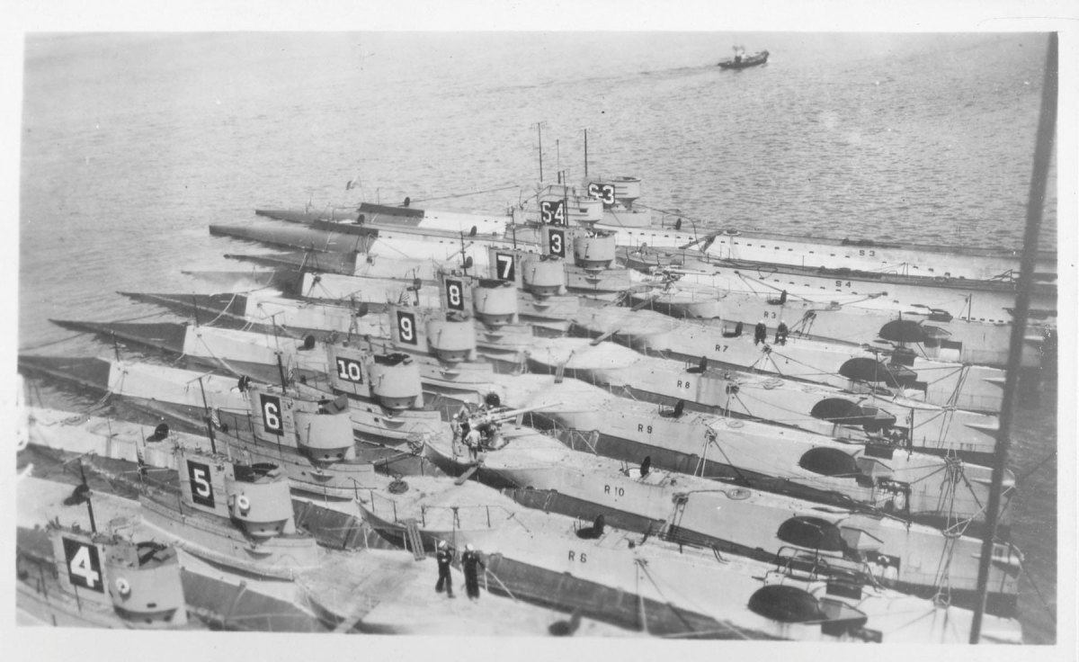 R-boats, all fitted with gun platforms, are nested together in May 1920.