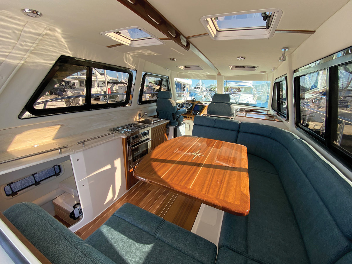 Among the many new features on the C108 are a larger dinette, which now seats six people, and a much more spacious cockpitcreated by moving the bulkhead aft and widening the beam.