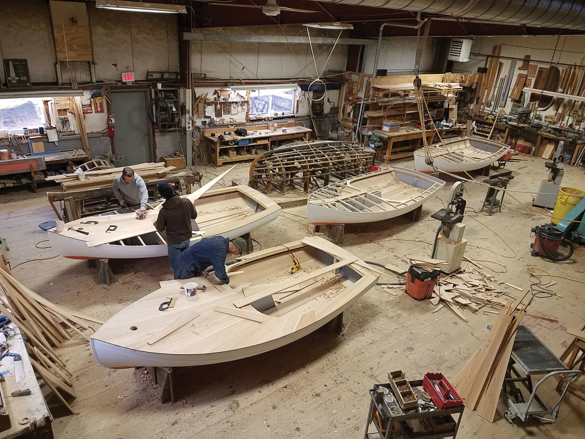 The Beetle Cat Boat Shop turns out between 9 and 12 new hulls each year.