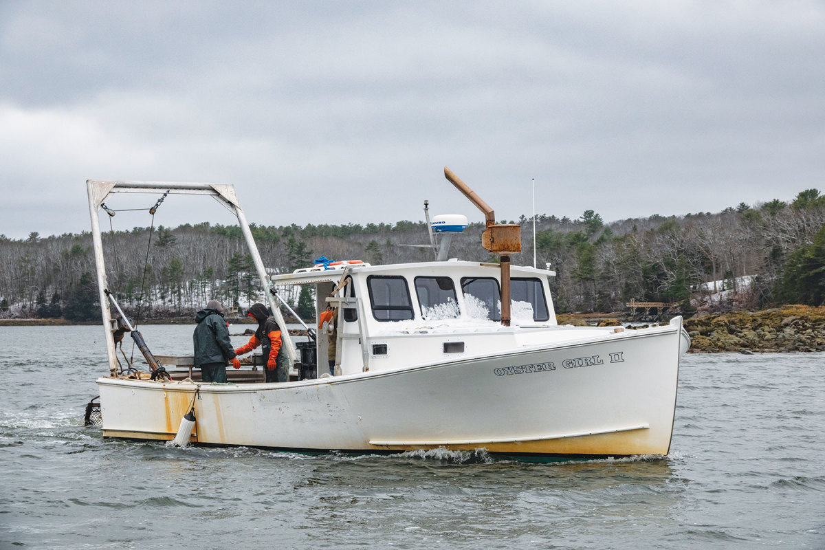 Oyster Girl II works the oyster beds on the Damariscotta River.