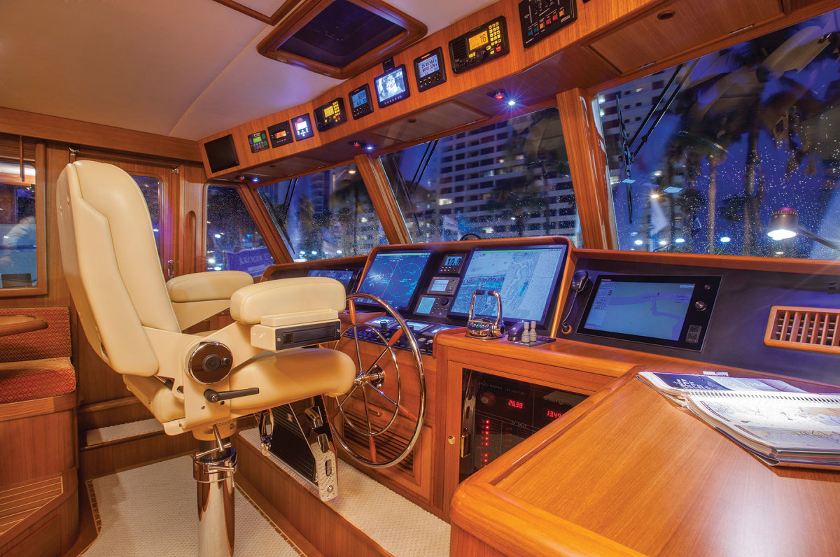 The pilothouse is like the bridge of a ship. Right: Access to the cabins, bridge galley and salon is easy.