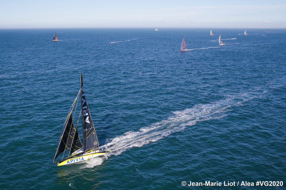 Charlie Dalin's Apivia is shownwith competitors on its tailat theNovember 8, 2020, start of the Vendée Globe race.With less than 48 hours to go, this week's finish, almost three months and a full circumnavigation later, is still too close to call.