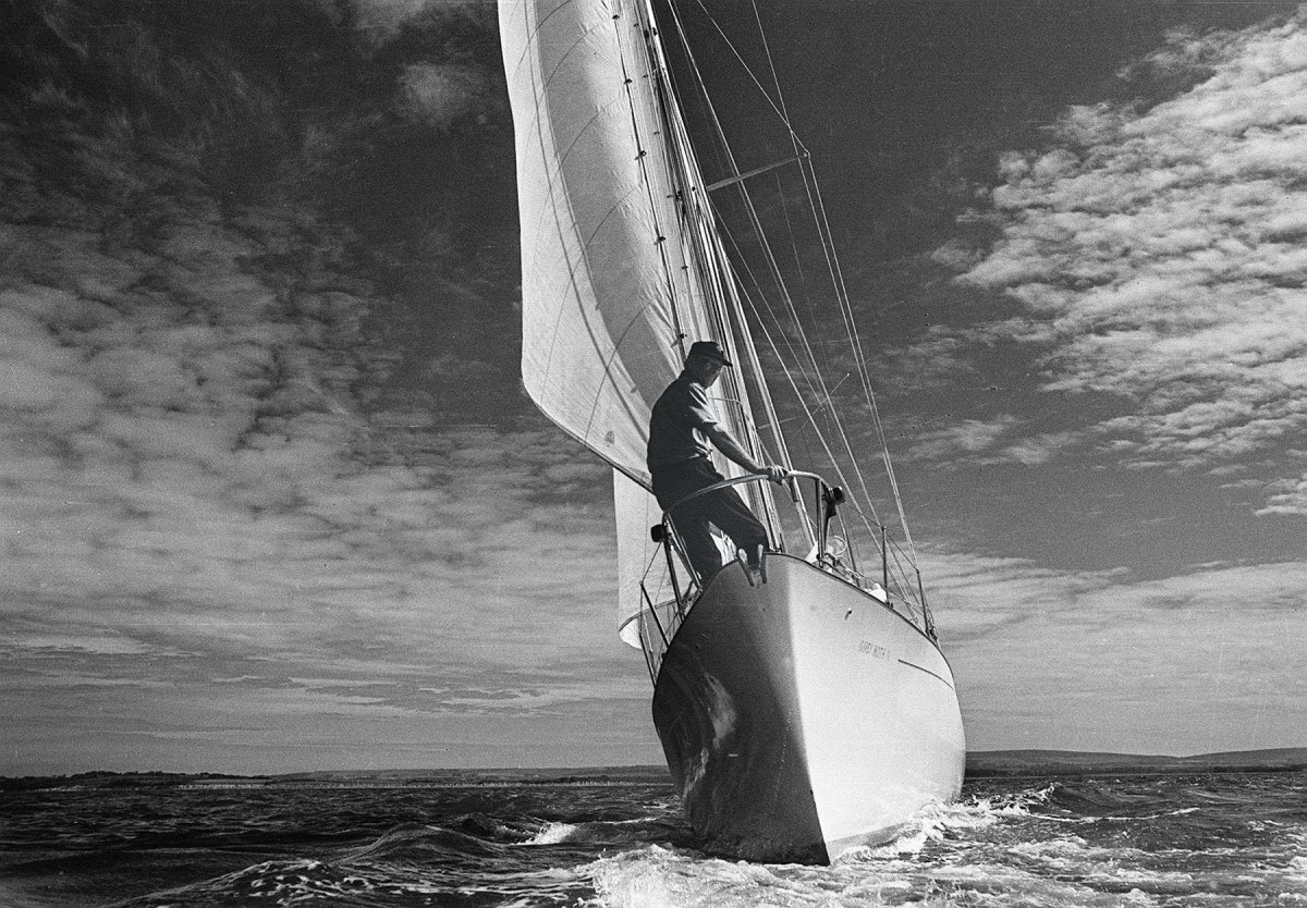 Sir Francis Chichester on the bow of the 53-foot ketch Gipsy Moth IV during trials in the Solent in the 1960s