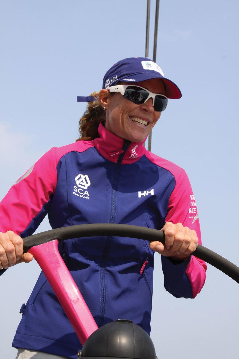 Carolijn Brouwer at the helm during the 2014-2015 Volvo Ocean Race