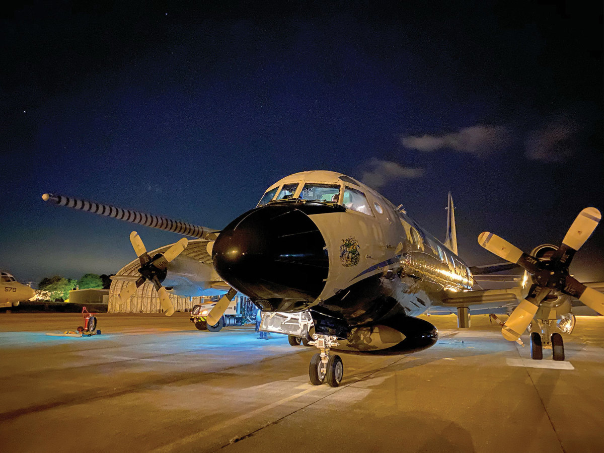 NOAA's Orion at Patuxent Naval Air Station during Hurricane Teddy