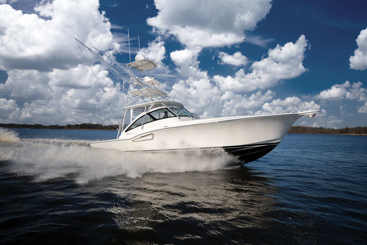 Albemarle's 41 has the bow flare, dropped sheerline and clean styling of a classic Carolina sportfisherman.