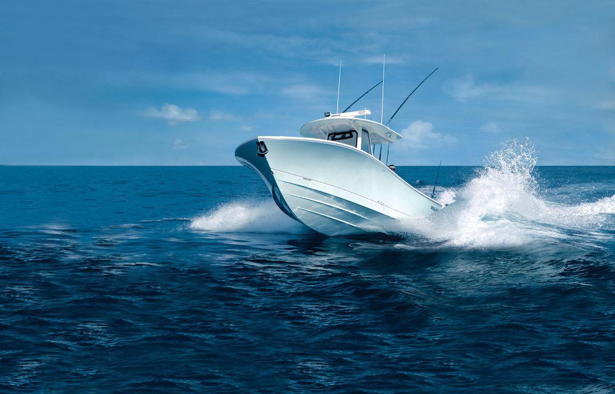 Weight and a Lou Codega hull on this Regulator make for good seakeeping.