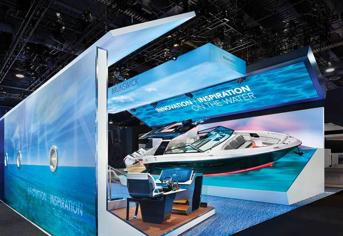 To show off the latest boating technologies, Brunswick Corp. put a new Sea Ray SLX-R 400e with an exact replica helm station on display at the CES trade show in Las Vegas.