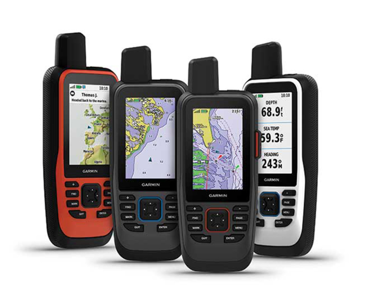 Left to right: The Garmin GPSMap 86i, 86sc, 86sci and 86s