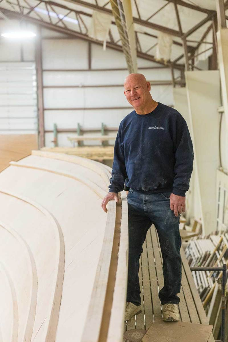 Jim Weaver built his first boat for himself, and since then has built 44 boats for clients.