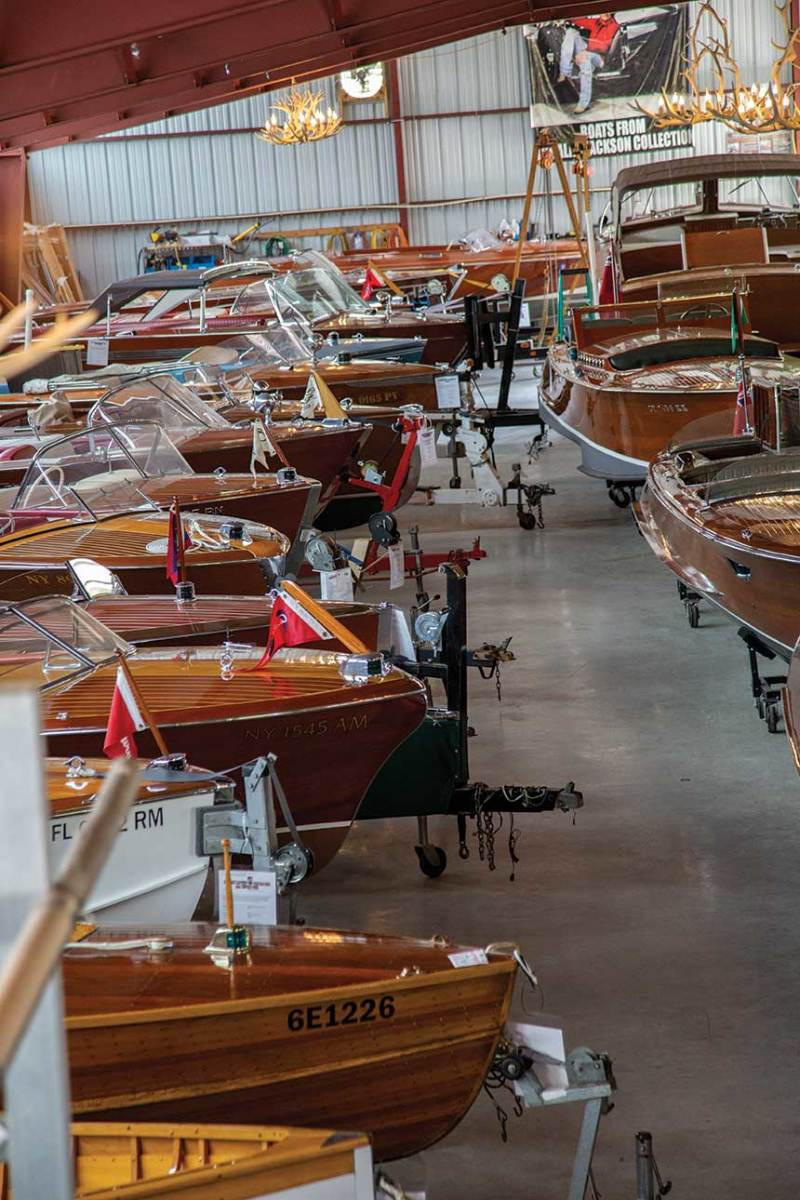About a hundred boats are on display, and for sale, at the Antique Boat America showroom.