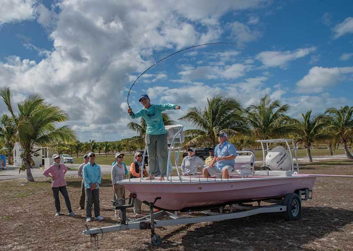 Gardner gives a casting lesson at a bonefish school for women in the Abacos.