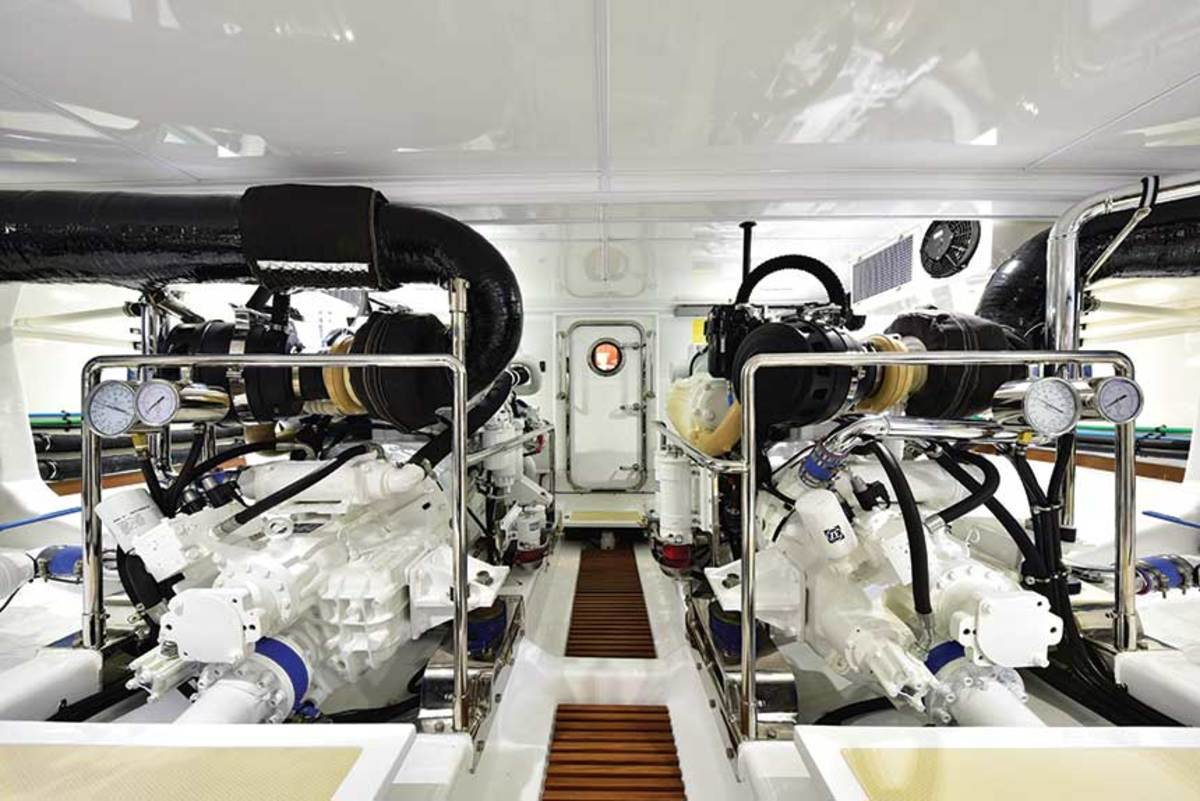 The engine room is accessible from the master suite