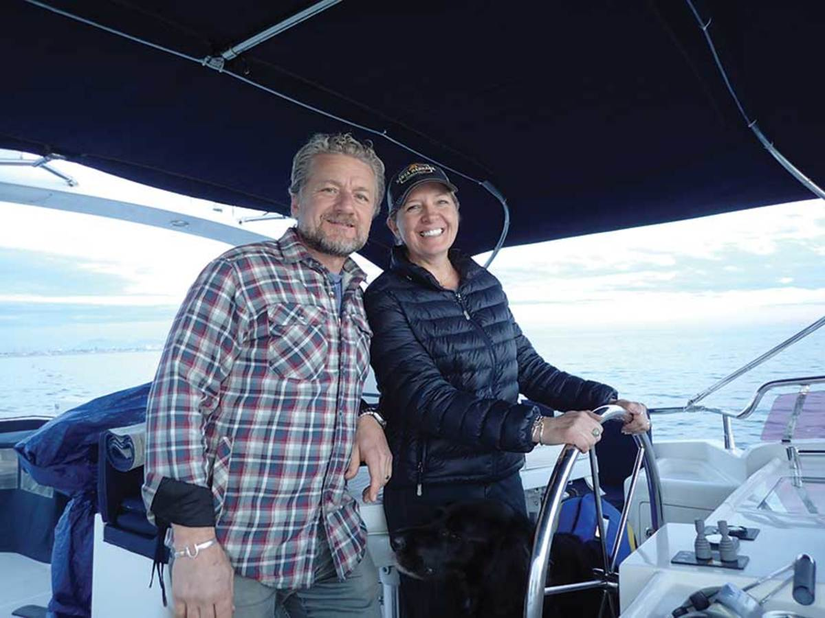 Rob and Deanna Piwowarczyk on the flybridge of their Selene 55.
