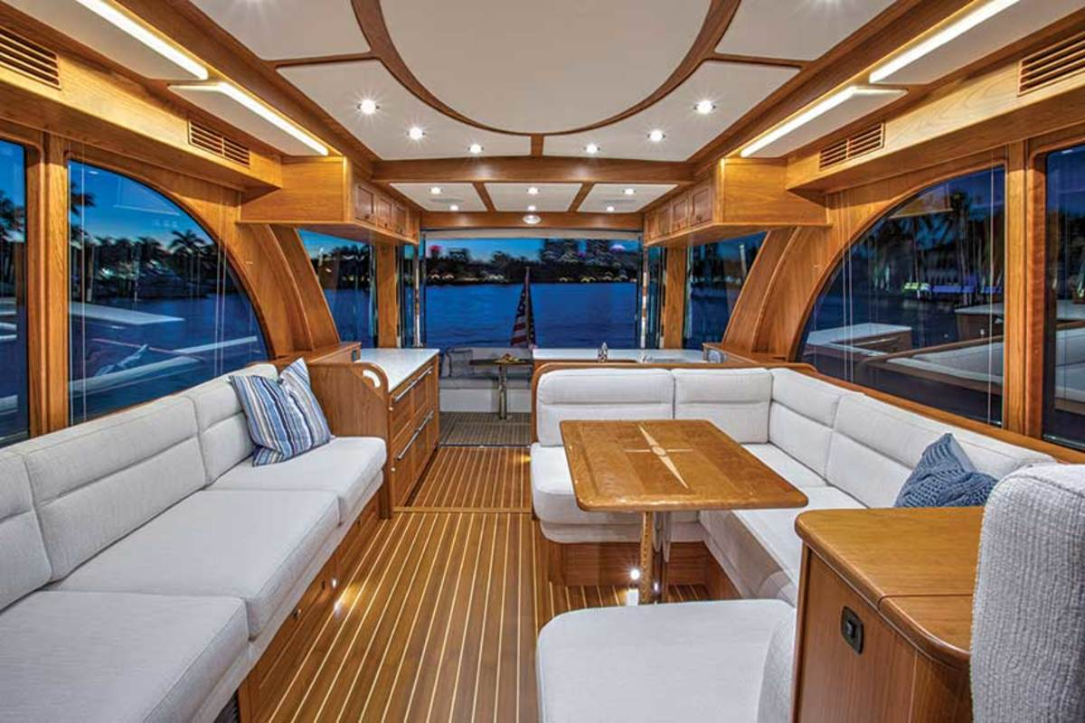 The Sabre 58 Salon Express has a handcrafted cherry interior and vast expanses of glass that provide great views.