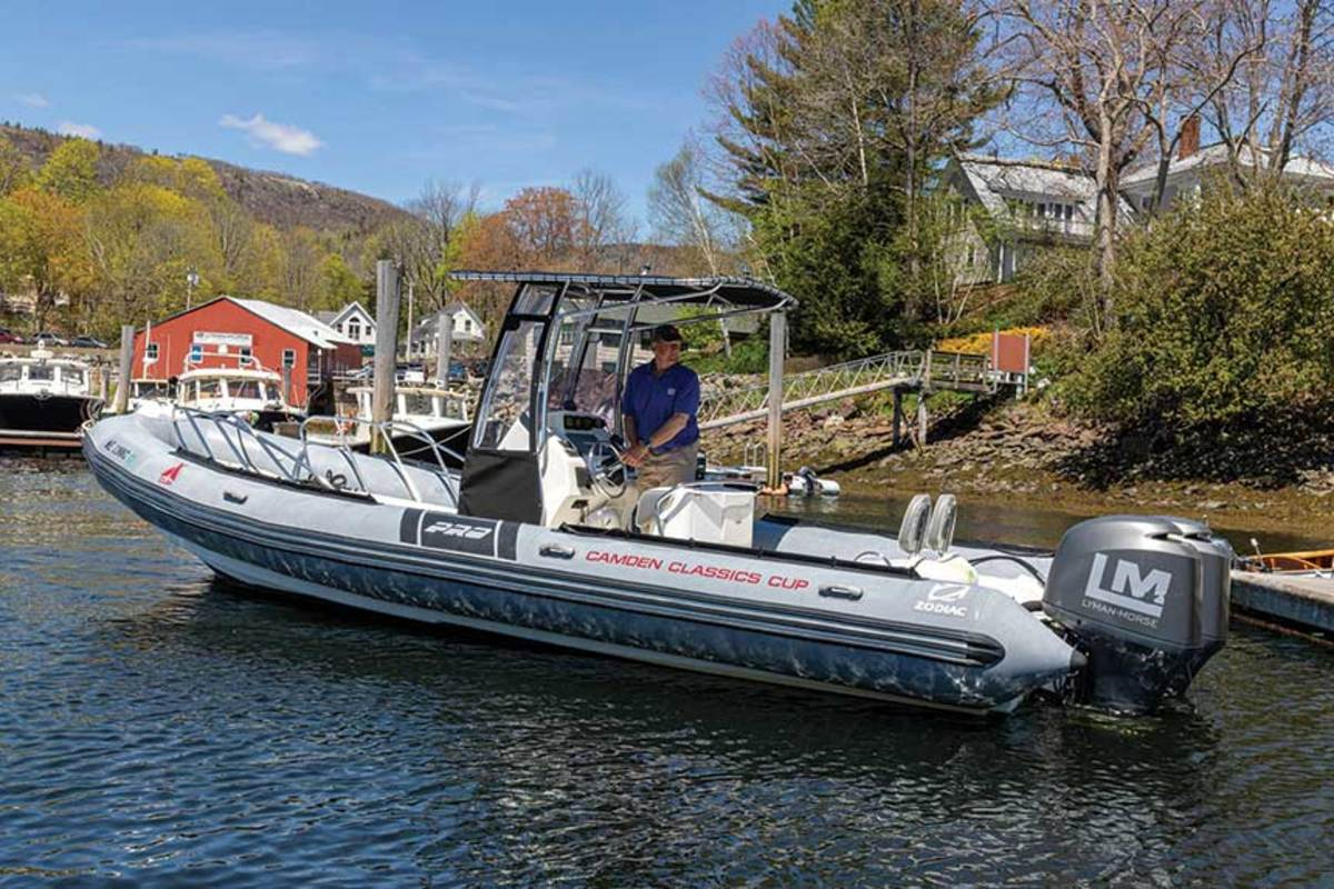 Top and above: The Lyman-Morse headquarters in Maine; the RIB launched at its Camden marina to deliver groceries to boaters who might have to quarantine aboard when arriving in the state.