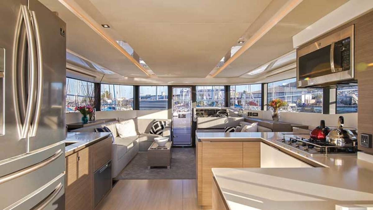 The 53 offers spacious entertaining areas, including a wide and bright salon and a well-equipped galley.