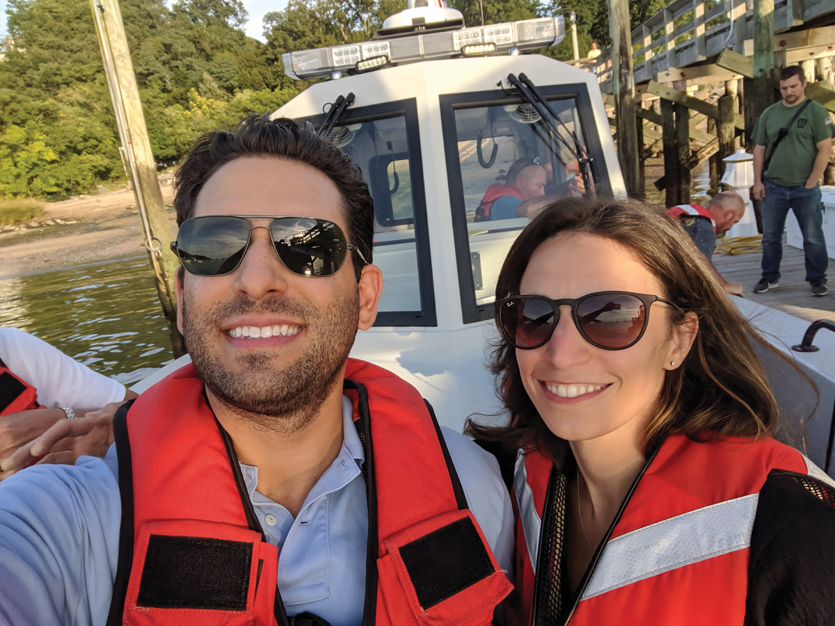 Josh Stein and Dr. Elizabeth Nadal in Port Jefferson, New York, just after they helped save the life of a heart attack victim