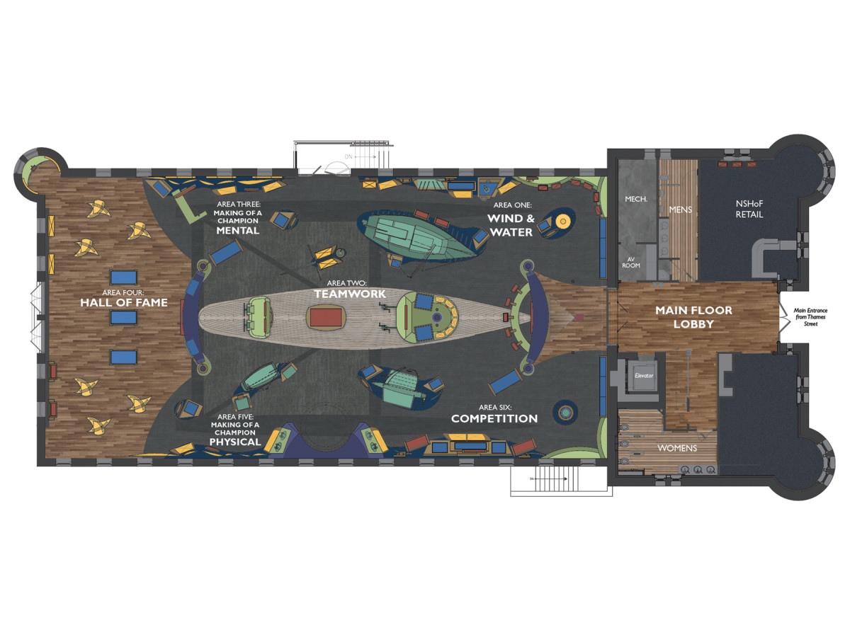 The floor plan for The Sailing Museum features a variety of exhibits and gathering spaces.