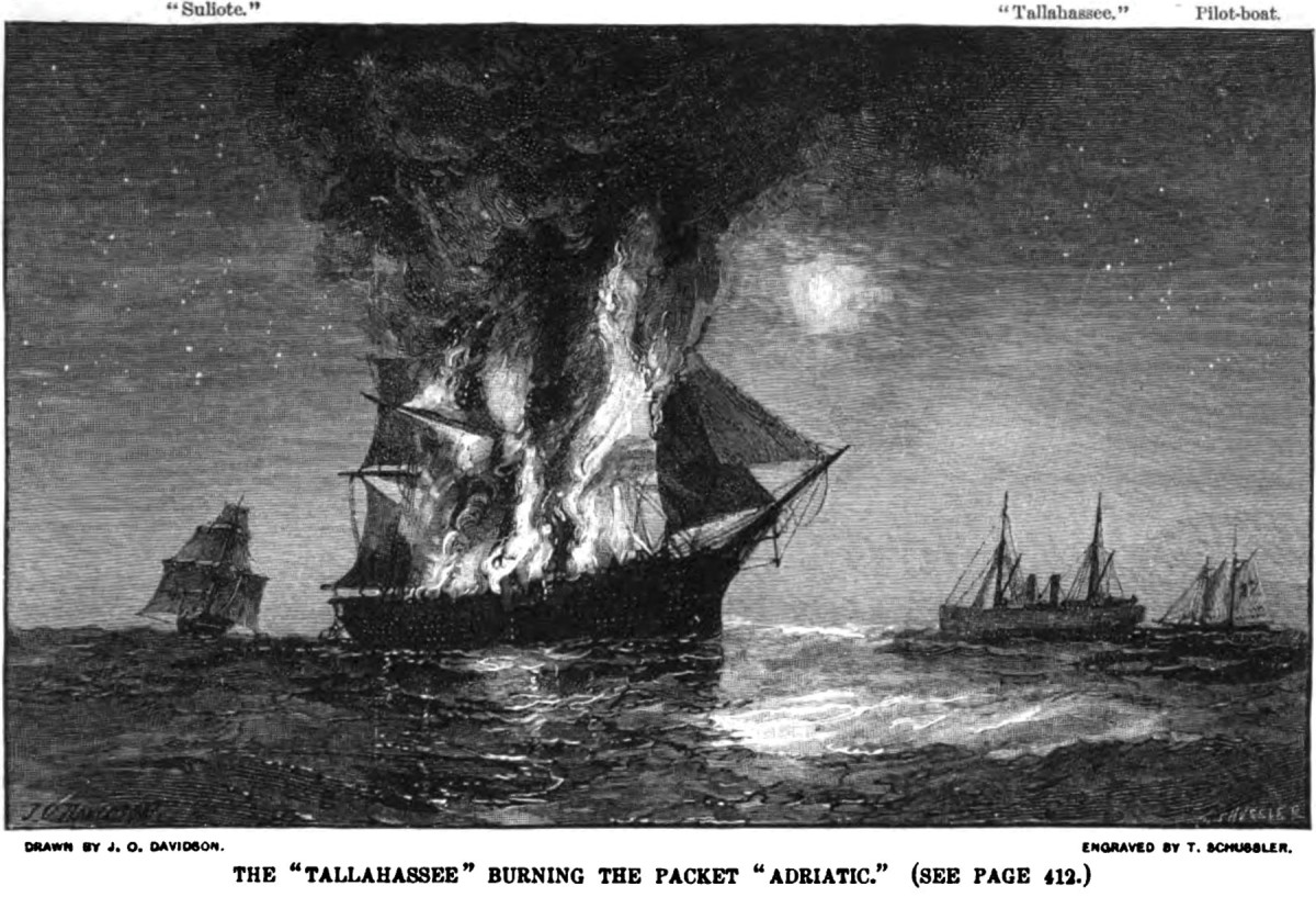 The 181-foot Adriatic was the largest  prize captured by the commerce raider CSS Tallahassee in August 1864.