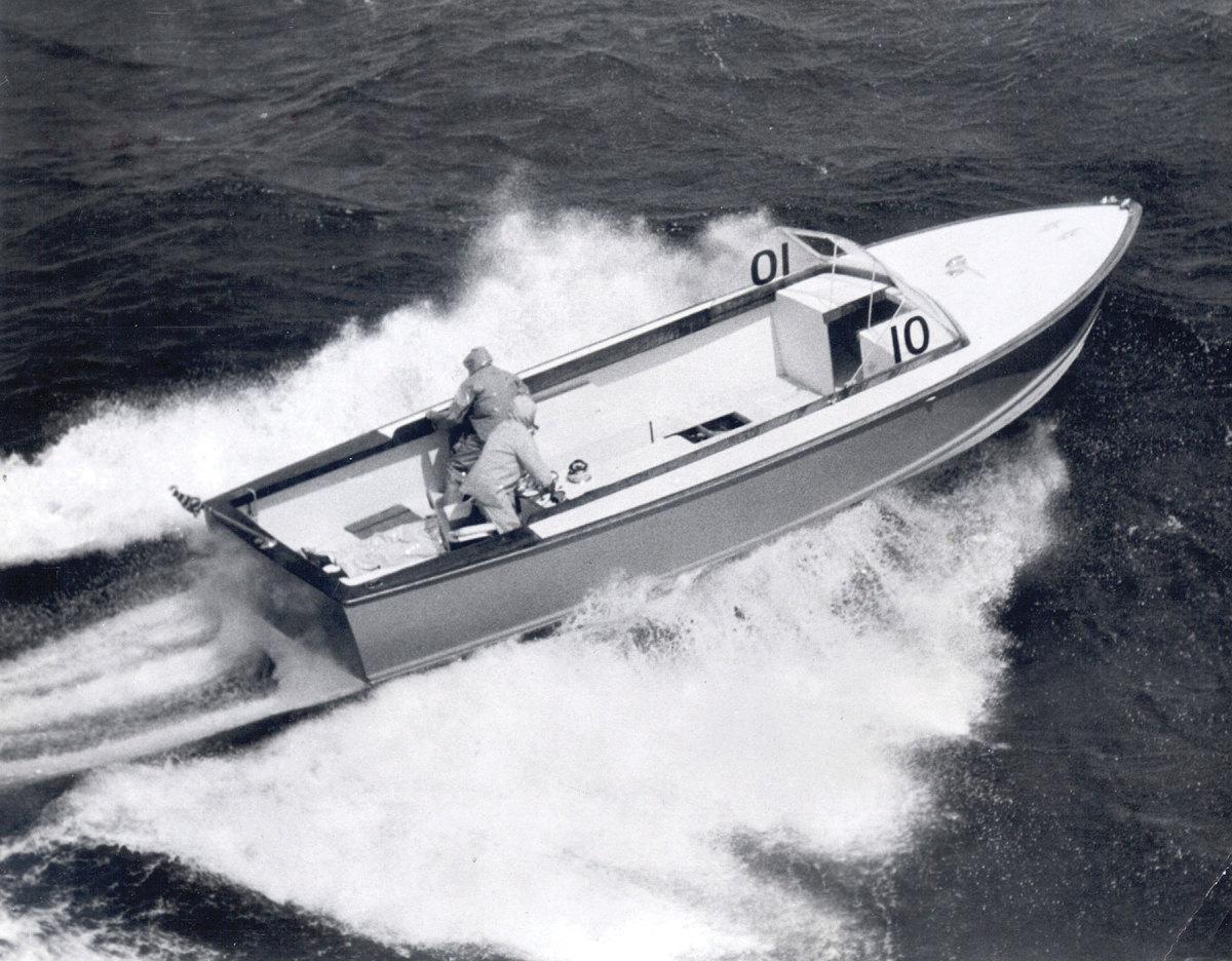 Moppie, one of a number of deep-V hulls Hunt designed for Richard Bertram