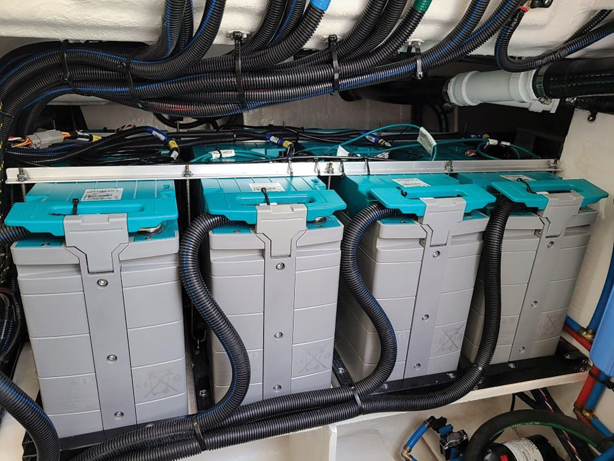 A bank of LiFePO4 batteries