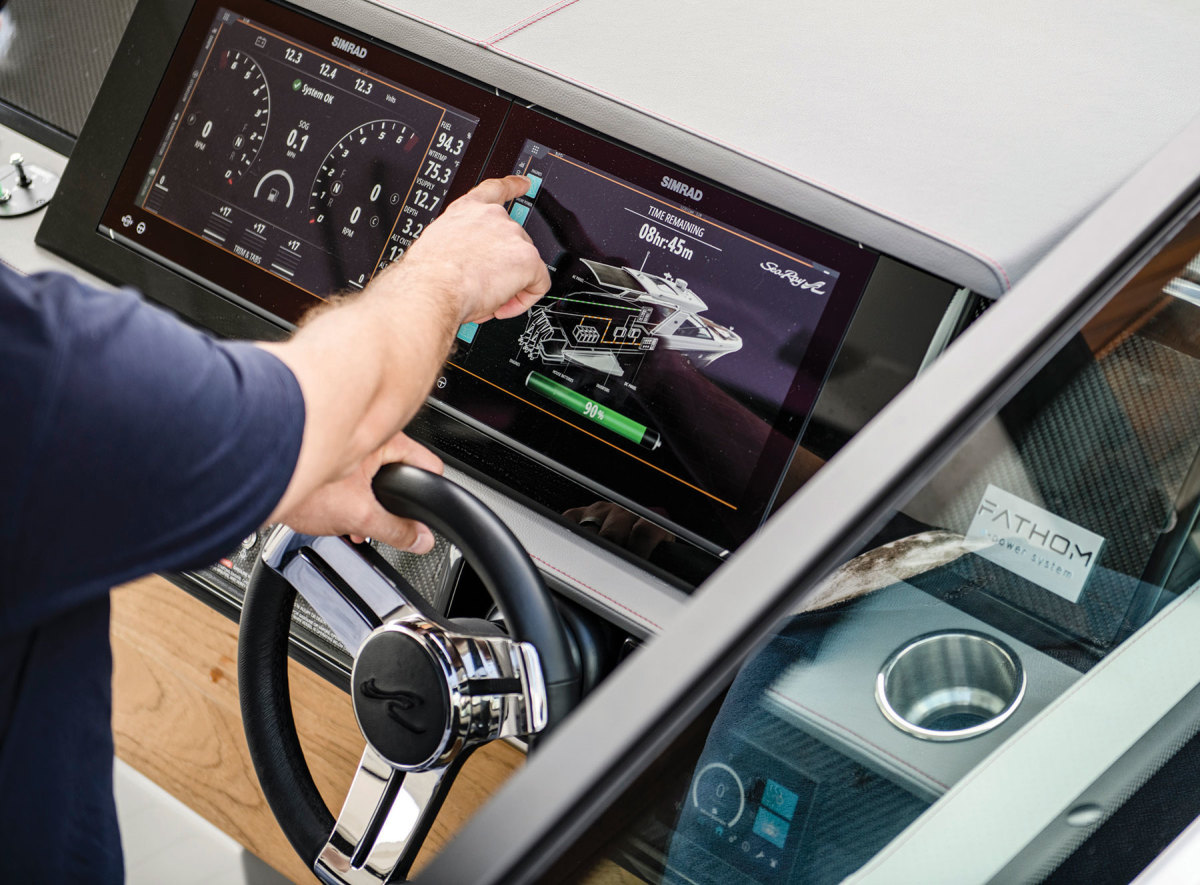 The user interface for Fathom e-Power is integrated into the Simrad MFD at the helm