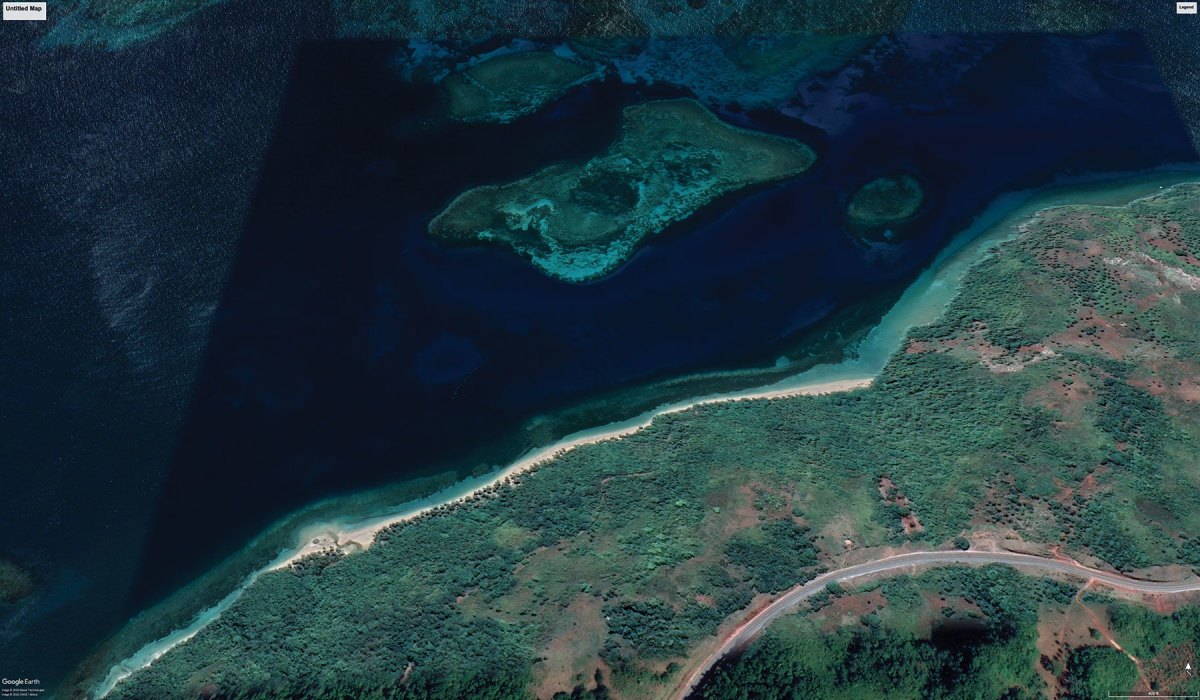 An aerial view of the shoreline at Port Jackson