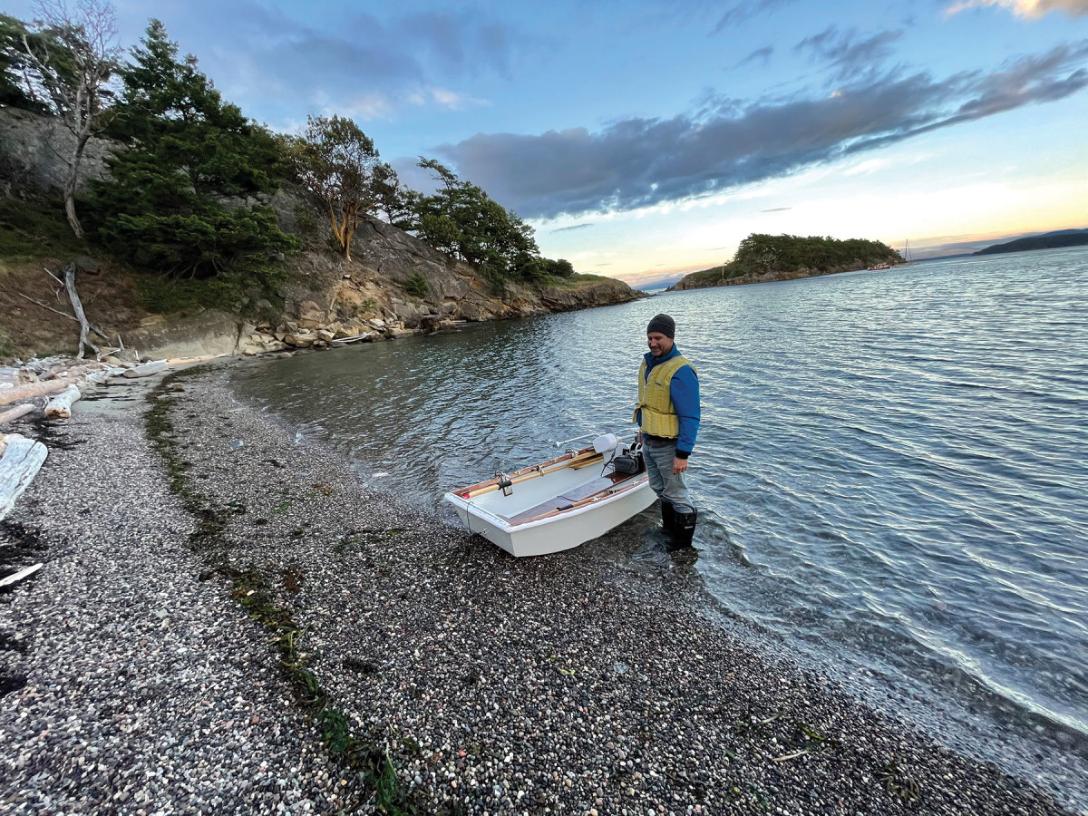 Alex Borton and his father, David, cruised their Solar Sal 27 up the Inside Passage to sea-trial its features, including the small dinghy that lives on the swim step of the boat.