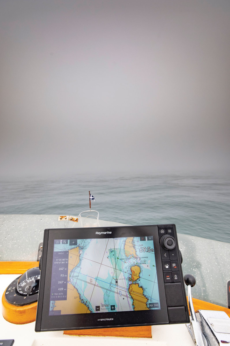 The Raymarine package on Snow Goose gave Onne the confidence to navigate through the dense fog on Vineyard Sound.
