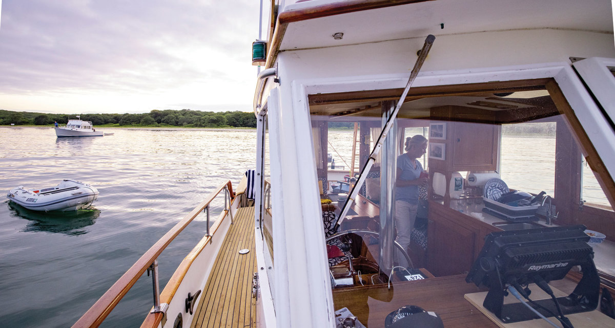 The van der Wals are comfortable cruising anywhere because of the electronics package on their Grand Banks 32.
