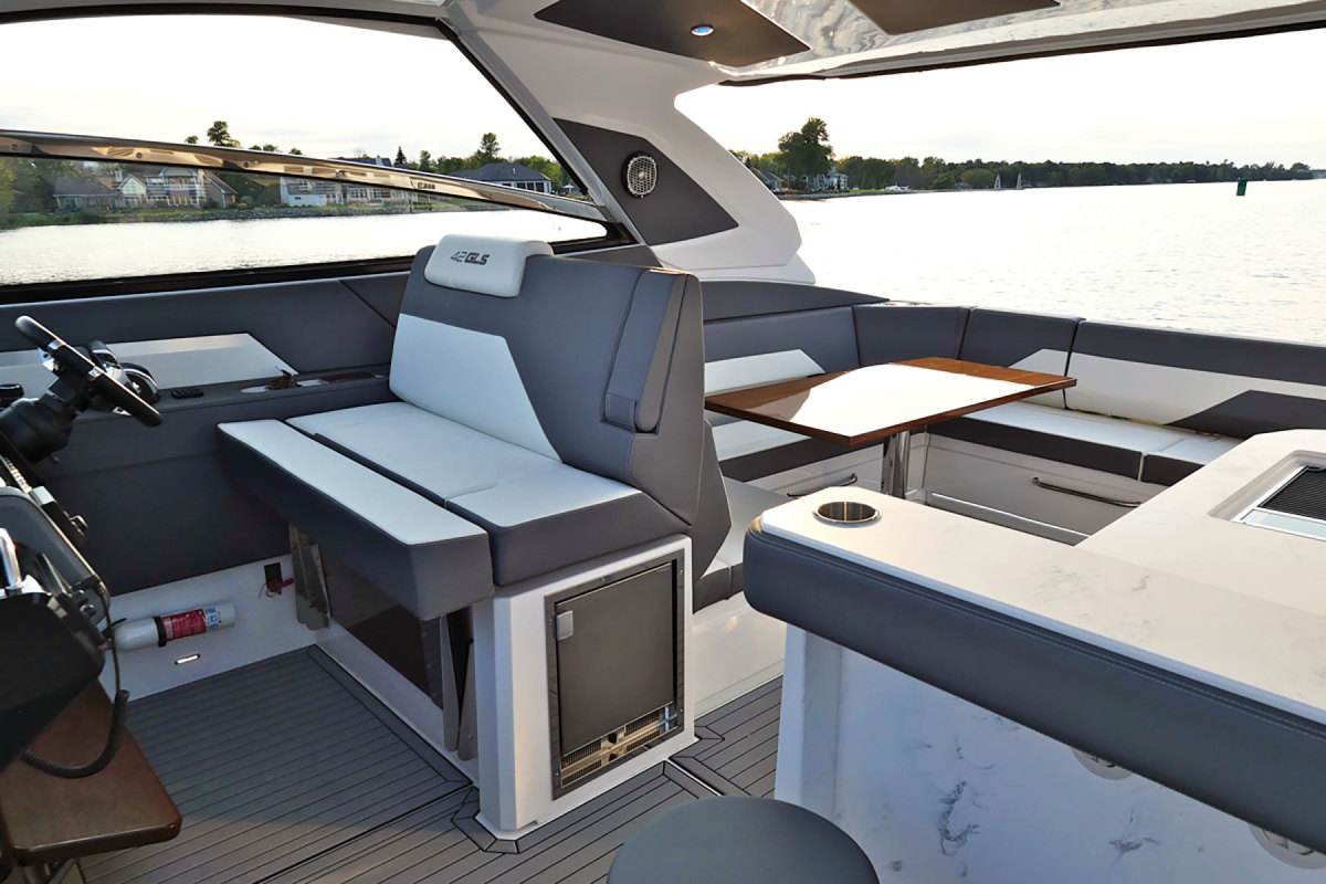 Seating in the bow can be enjoyed when the boat is under way