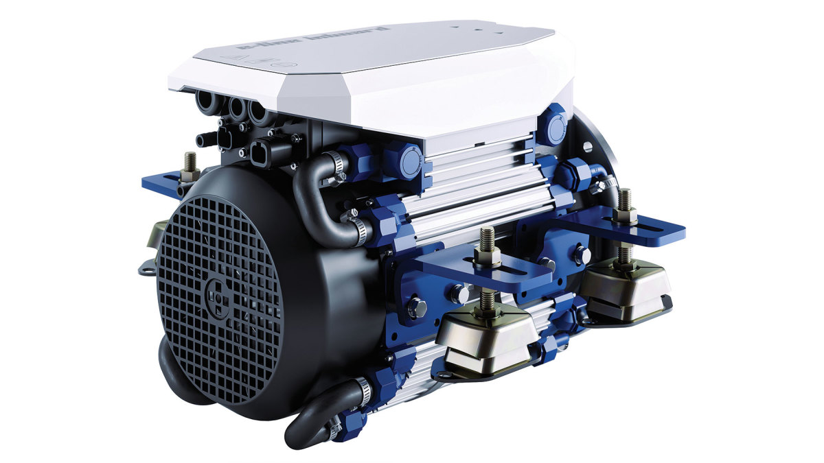 Vetus' E-Line electric motor connects to an inboard shaft.