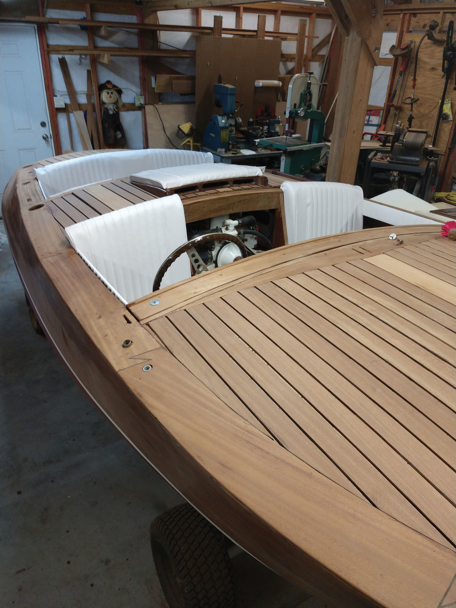 The tender has okoume plywood overlayed with mahogany planking
