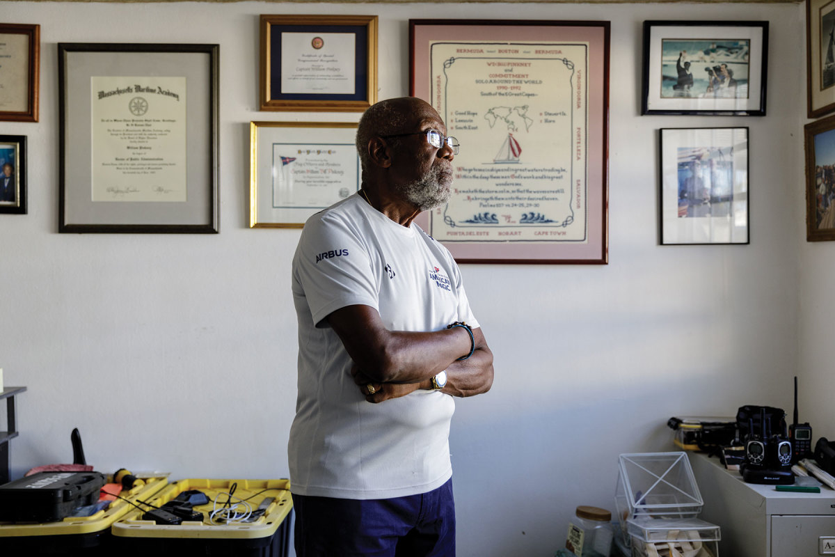 Pinkney's wall is decorated with awards, including a special recognition from Congress for his record-setting voyage.
