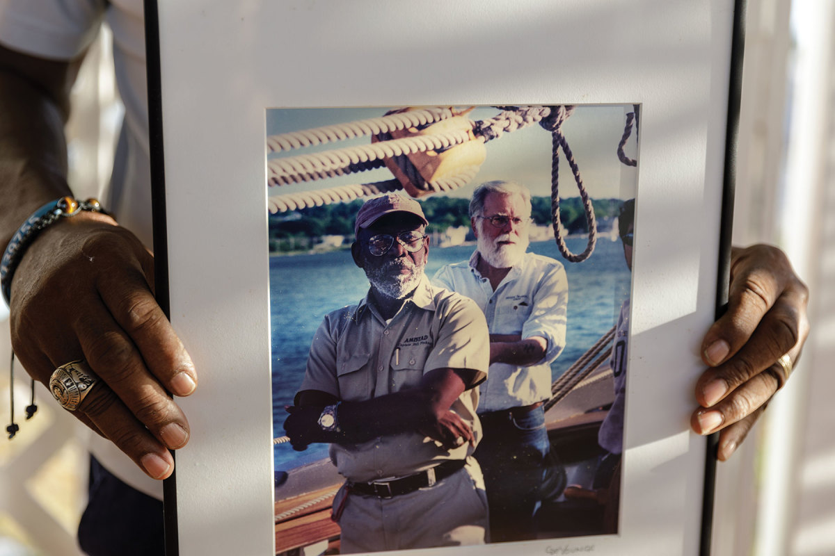 Pinkney pictured with QuentinSnedeker of Mystic Seaport, project manager on Amistad.