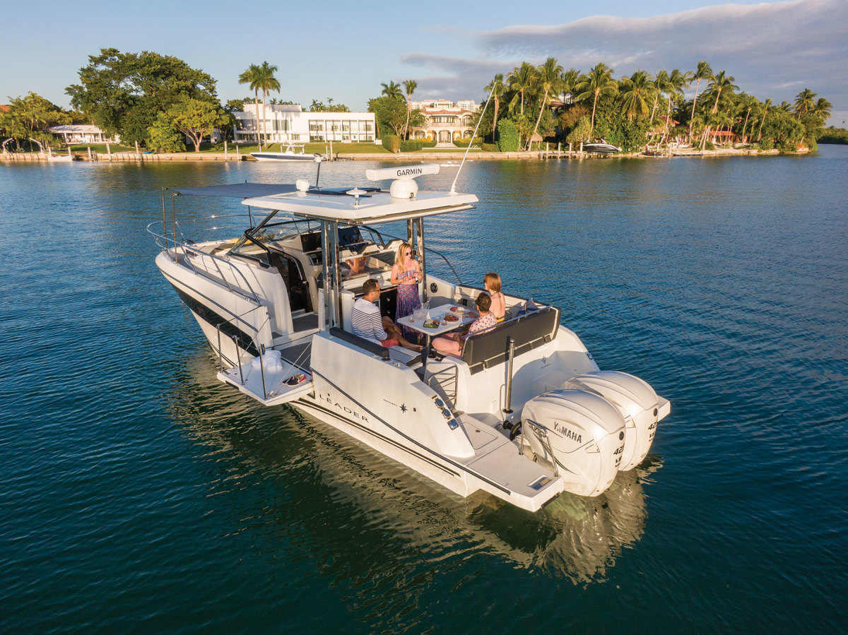 The Jeanneau Leader 10.5 Series 2 is marketed with twin 300- or 425-hp Yamahas, but can also be rigged with Mercurys.