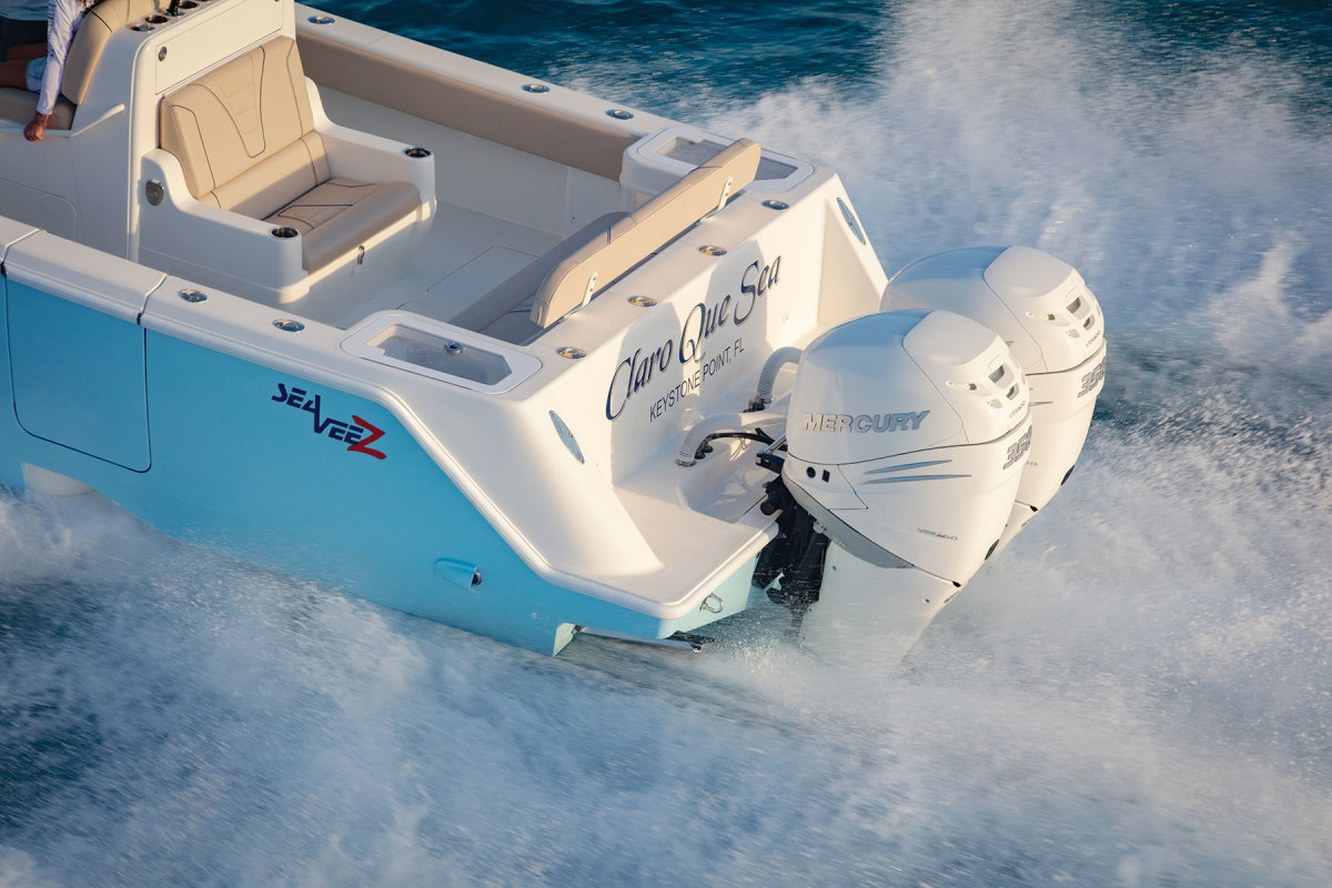 SeaVee offers its 322z with eight different power packages, from twin 300-hp to triple 450-hp engines from three different manufacturers.