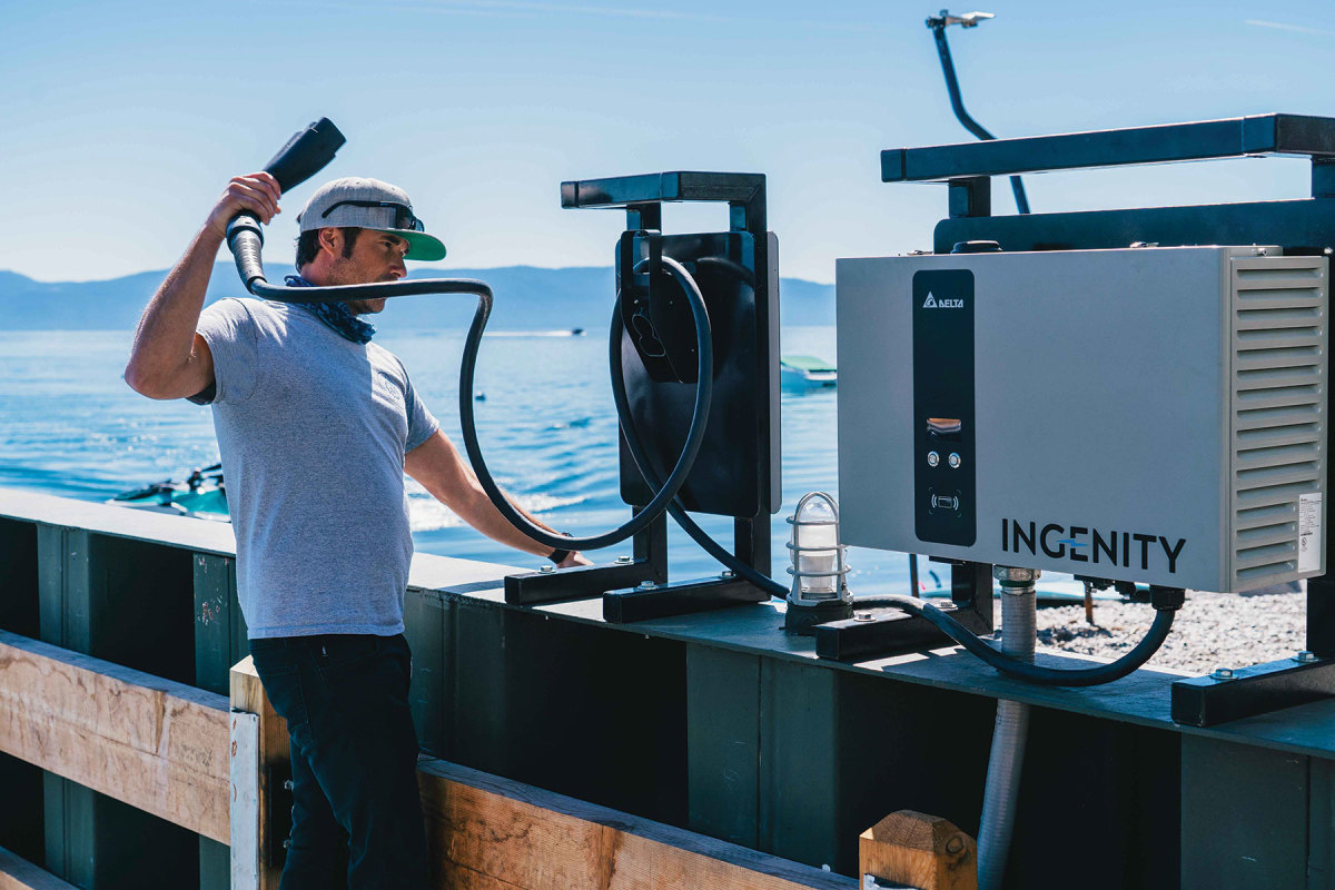 The CCS charger on Lake Tahoe is one of the first to be installed in the U.S. and allows for rapid charging of electric boats.