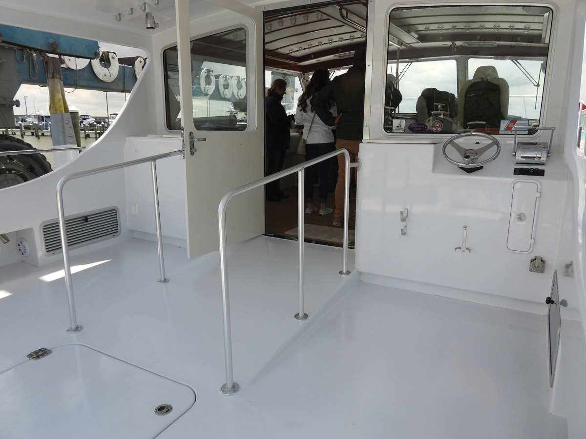 The boat was designed with features that allow two wheelchair-bound people full independence while onboard.