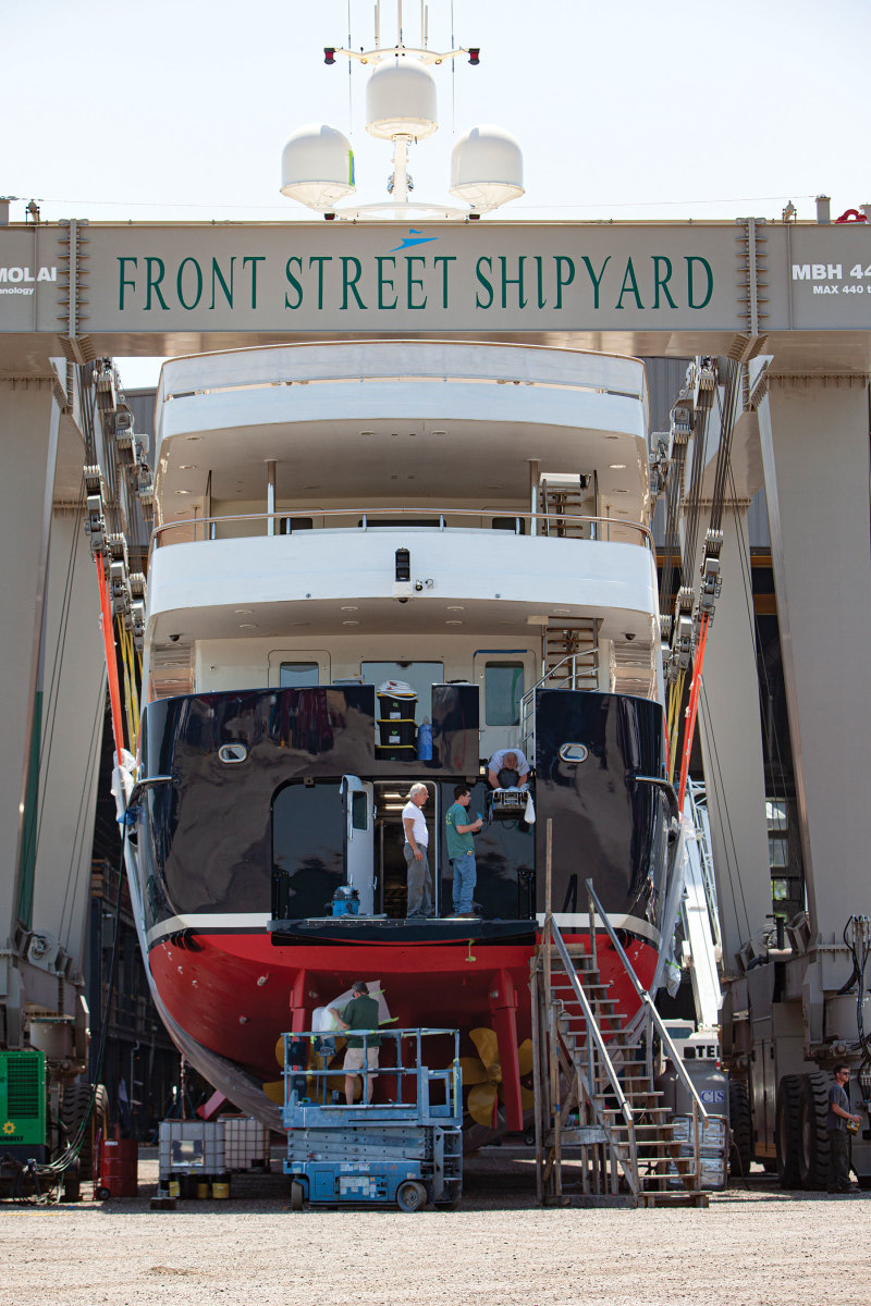 The 151-foot expedition yacht Pioneer got a makeover at Front Street Shipyard.