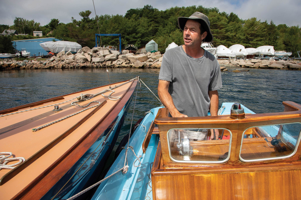 Jay Robbins uses a Boston Whaler to deliver an IOD to the Northeast Harbor Fleet.